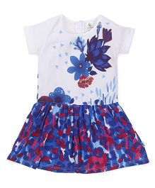 Cucumber Short Sleeves Frock Floral Print - White Blue