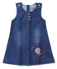Cucumber Sleeveless Denim Frock Bunny Embroidery - Light Blue