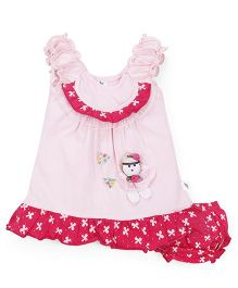 Cucumber Ruched Sleeves Frock With Bloomer Doll Patch - Light Pink
