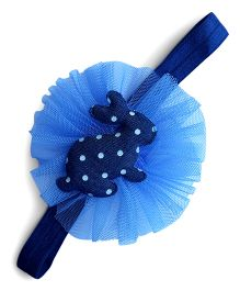 Little Miss Cuttie Polka Dots Tulle Headband - Navy Blue
