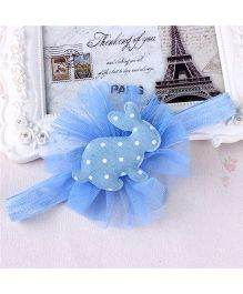 Little Miss Cuttie Rabbit Polka Dots Tulle Headband - Sky Blue