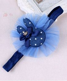 Little Miss Cuttie Bunny Polka Dots Tulle Headband - Navy Blue