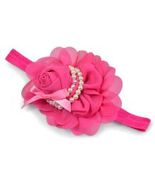 Little Miss Cuttie Rose Applique Headband - Hot Pink