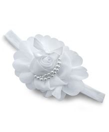 Little Miss Cuttie Rose Applique Headband - White