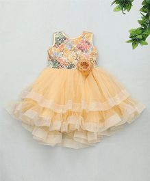 Kaia Fashion Synthetic Dress With Flower Applique - Peach