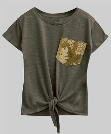 A.T.U.N Bubble Knot Tee With Lace Pocket - Green