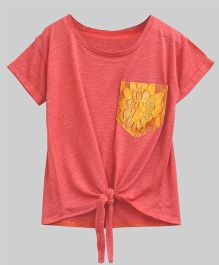 A.T.U.N Bubble Knot Tee With Lace Pocket - Coral