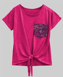 A.T.U.N Bubble Knot Tee With Lace Pocket - Pink