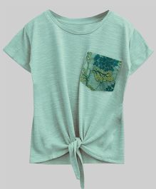 A.T.U.N Bubble Knot Tee With Lace Pocket - Mint Green