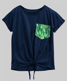 A.T.U.N Bubble Knot Tee With Lace Pocket - Navy Blue