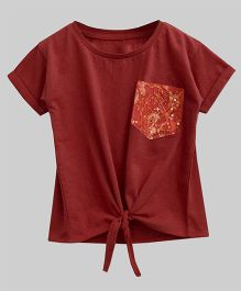 A.T.U.N Bubble Knot Tee With Lace Pocket - Rust Red