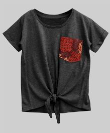 A.T.U.N Bubble Knot Tee With Lace Pocket - Charcoal Grey
