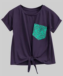 A.T.U.N Bubble Knot Tee With Lace Pocket - Purple