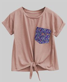A.T.U.N Bubble Knot Tee With Lace Pocket - Light Pink