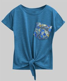 A.T.U.N Bubble Knot Tee With Lace Pocket - Agean Blue
