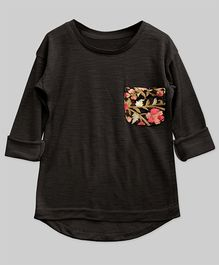 A.T.U.N High Low Hem Tee With Embroidered Pocket - Ashen Brown