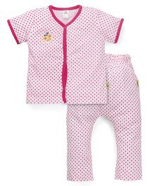 Tiny Bee Polka Dot Print Tee & Pant Set - Pink