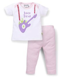 Tiny Bee Girls Infant Wear Envelope Tee & Legging Set - White & Pink
