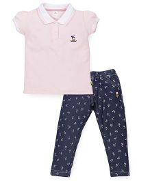 Tiny Bee Girls Polo Tee & Denim Pant Set - Pink & Blue