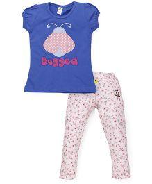 Tiny Bee Cap Sleeve Top & Denim Pant Set - Blue & Pink