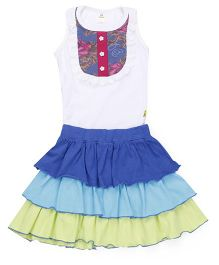 Tiny Bee Sleeveless Tee & 3 Tier Skirt Set - White Blue & Green