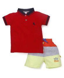 Tiny Bee Polo Tee & Shorts Set - Red & Yellow