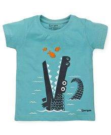 Tiny Bee Boys Basic Crew Neck Tee Set - Blue & Green