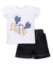 Tiny Bee Basic Crew Neck Tee & Shorts Set - White & Black