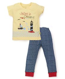 Tiny Bee Sailing In Dreams Print Tee & Pant Set - Yellow & Navy Blue