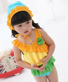 Dazzling Dolls Set Of Two Ruffled Swimsuit With Cap - Yellow