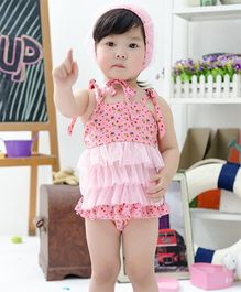 Dazzling Dolls Set Of Three Floral Tankini Set With Cap & Lace Trimmings - Pink
