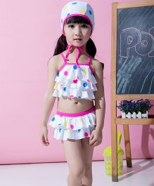 Dazzling Dolls Set Of Three Polka Dot Layered Ruffled Tankini Set With Cap - White
