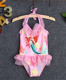 Dazzling Dolls Ruffled Halter Neck One Piece Mermaid Swimwear - Pink
