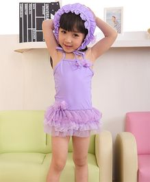 Dazzling Dolls Ruffled Tutu Spaghetti Swimsuit With Cap - Purple