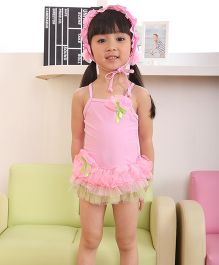 Dazzling Dolls Ruffled Spaghetti Flower Applique Swimsuit With Cap - Pink