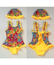 Dazzling Dolls Floral Ruffled Hem One Piece Swimsuit With Cap - Yellow