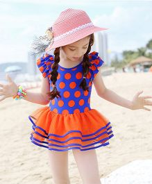 Dazzling Dolls Polka Dot Ruffle Sleeves Layered Swimsuit - Blue & Orange