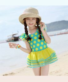 Dazzling Dolls Polka Dot Ruffle Sleeves Layered Swimsuit - Blue & Green