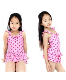 Dazzling Dolls Polka Dot Ruffled Layered Peplum Swimsuit - Pink
