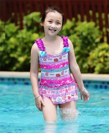 Dazzling Dolls Ruffled Hem Swim Suit With Cap - Multicolour