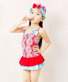 Dazzling Dolls Printed Peplum Swimsuit With Cap - Red