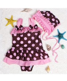 Dazzling Dolls Polka Dot Peplum Swimsuit With Cap - Pink & Brown