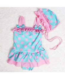 Dazzling Dolls Polka Dot Peplum Swimsuit With Cap - Pink & Blue