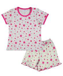 De-Nap Set Of Star Printed Tee & Flared Shorts - Grey & Pink