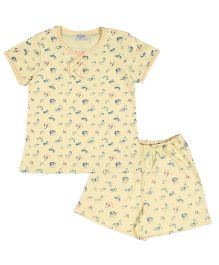 De-Nap Set Of Butterfly Printed Top & Shorts - Lemon Yellow