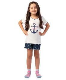 De-Nap Set Of Anchor Printed Top & Shorts - White & Blue