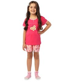 De-Nap Set Of Butterfly Printed Top & Shorts - Fuchsia