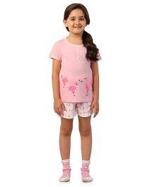 De-Nap Set Of Flamingo Printed Top & Shorts - Pink