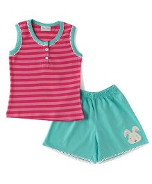 De-Nap Set Of Mini Bunny Patch Shorts & Top - Pink & Blue