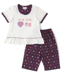 De-Nap Set Of Some Bunny Loves Me Printed Top & Capri - Purple & White
